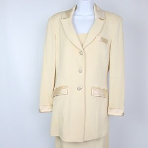 St. John Evening 3 piece suit skirt set ivory